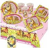 Charming Horses Pferde Partyset für 16 Kinder Tischdecke Becher Teller Servietten