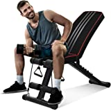 OUNUO Adjustable Weight Bench - Foldable Workout Bench for Home Gym Exercises, Perfect Multi-purposed Incline/Decline Fitness Bench