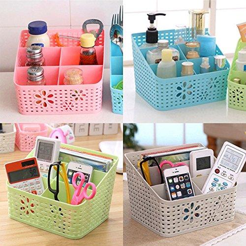 Shag 1pic Plastic Rattan Plaited Desk Organizer Cosmetics Makeup Storage Holder for Office Desk Phone Remote holder