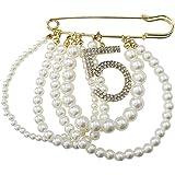 TENDYCOCO Spilla con Nappa di Perle Numero Cinque Spille in Cristallo con Perle di Camelia per Le Ragazze Accessori per Gioie