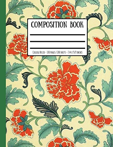 Victorian Wallpaper Print Composition Book: College Ruled - 100 Pages / 200 Sheets - 7.44 x 9.69 inches -
