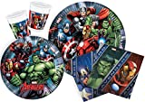 Ciao Y2509 Marvel Avengers Party Tableware for 24 People (112 Pieces: 24 Large Plates / 24 Medium Plates / 24 Glasses / 40 Napkins)