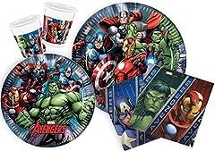 Idea Regalo - Ciao Y2509 - Kit Party Festa in Tavola Marvel Avengers per 24 Persone 112 Pezzi: 24 Piatti Grandi, 24 Piatti Medi, 24 Bicchieri, 40 Tovaglioli)