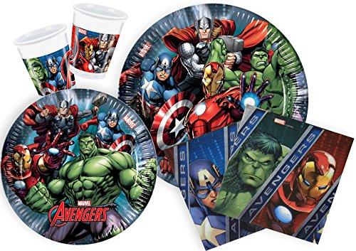 Ciao Y2509 - Kit Party Festa in Tavola Marvel Avengers per 24 Persone 112 Pezzi: 24 Piatti Grandi, 24 Piatti Medi, 24 Bicchieri, 40 Tovaglioli)