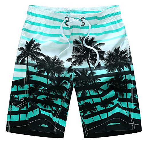 Herren Strand Shorts Kokosnuss Palmen mit Gummizug Schnelltrocknend Boardshorts Lose Große Größen Kurze Hose Blau