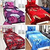 Sky Tex Super Saver Combo Of 4 Poly Cotton 140 TC Vibrant Single Bed Sheets With Pillow Covers