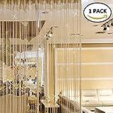 Enjoygoeu Fadenvorhang Fliegenschutz Türvorhang Fadengardine im Tautropfen Design als Raumteiler saisonale Dekoration 100x200cm (Champage, 1)