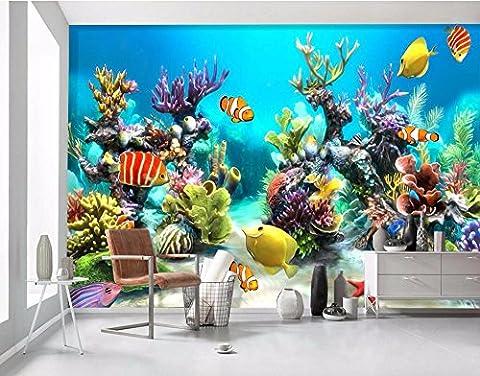 LWCX Benutzerdefinierte Wandgemälde Foto 3D Wallpaper Unterwasserwelt Fische und Kinder Dekoration Malerei 3D Wandbilder Tapeten 280X200CM