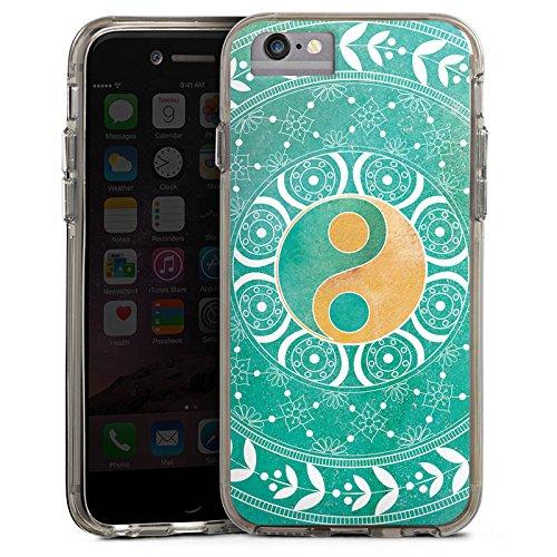 Apple iPhone 7 Bumper Hülle Bumper Case Glitzer Hülle Mandala Ying Yang Symbol Bumper Case transparent grau