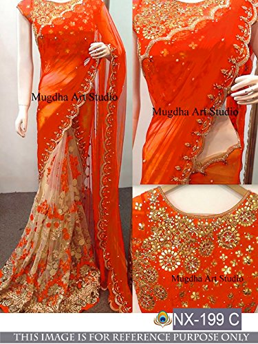 Sunshine Fashion Women's Georgette Saree With Blouse Piece (Sunsa1934-Fb_Orange)