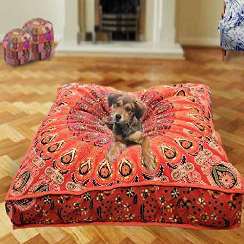 Indische Mandala Tapisserie böhmischen Mandala Meditation Kissenbezug handgemachte Kissenbezug Hund, Katze und Kinder Bettwäsche quadratischen Boden Kissen & Kissen Boho Chic böhmischen Baumwolle Pouf