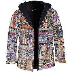 Shopoholic Moda Hombre Mujer Algodón outstiched Hippie sudadera con capucha para hombre multicolor multicolor Large