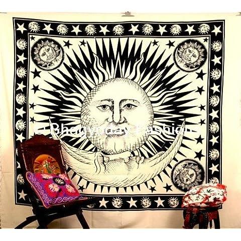 indian Queen Hippie Celestial Sun Tapestry, Good Morning Tapestry, Sole, Luna, Stelle, da appendere alla parete luce del giorno sole cotone indiano Tapestry, Etnica Home Decor Art, Star, Coperta per Picnic–Decorazione da parete angoli elasticizzati, Boho Arazzi, 86x 94Bhagyoday