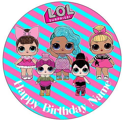 Topper decorativa per torta ispirata a LOL Surprise Dolls, pre,tagliato,  commestibile, da 19 cm di diametro, (personalizzabile) 1. Round 7.5inch