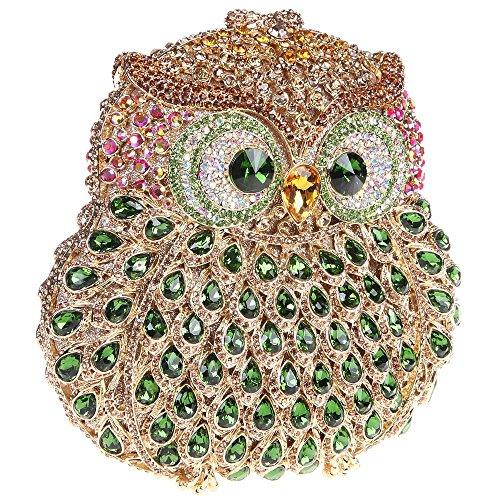 Santimon Clutch Delle Donne 3D Guto Diamante Cristallo Borsellini Borse Da Festa di Nozze Sera Con Tracolla Amovibile E Pacco Regalo 13 Colori verde