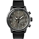 Timex Men's Chronograph Quartz Watch With Leather Strap Tw2R69000, Black Band
