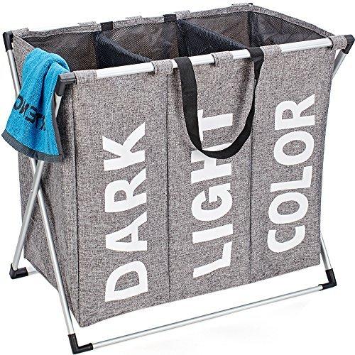 HOMEST groß Faltbarer Wäschesammler Korb Langlebig 3Abschnitte Schmutzwäsche Tasche mit Griff für Badezimmer Schlafzimmer, Grau