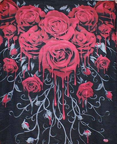 Coperta in pile con motivo rose insanguinate