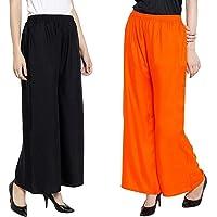 INDI FASHION Women's Rayon Pant Palazzo Combo (Black and White, Free Size)