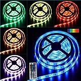 LED Strip Streifen RGB Leuchten LED Stripes 10M 300LEDs IP65 Wasserdicht Lichtstreifen Saiten Leuchten 5050 Dimmbar Lichtband Flexibel Seil Licht mit IR Fernbedienung & 12V Stromversorgung
