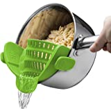 JUNSHUO Siliconen Napzeef Met 1 Inklapbare Trechters, Clip-On Vergiet Filter Past Op Alle Pot En Kommen Voor Spaghetti, Pasta
