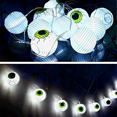 Halloween Dekor Eyeballs Laterne Lichterketten - ELINKUME 20 LEDs 3,3 m/10,83 ft LED Scary Geister Augapfel Lichterketten Batteriebetrieben für Festival Party Dekorationen Indoor Outdoor (Warmweiß)