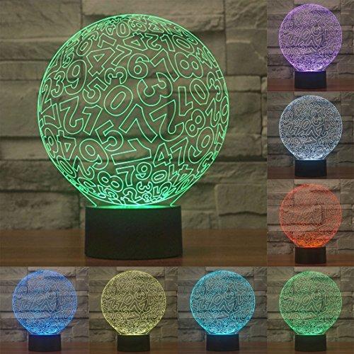 Spécial Numérique USB chargeant une lumière stéréo à vision couleur de 7 couleurs avec une commande tactile 3D et une lampe de nuit à DEL, 0.5W, DC 5V Accueil