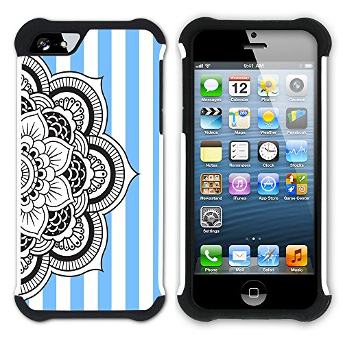 Graphic4You Mandala Blume Streifenmuster (Wasserblau) Hart + Weiche Kratzfeste Hülle Case Schale Tasche Schutzhülle für Apple iPhone SE / 5 / 5S Schwarz