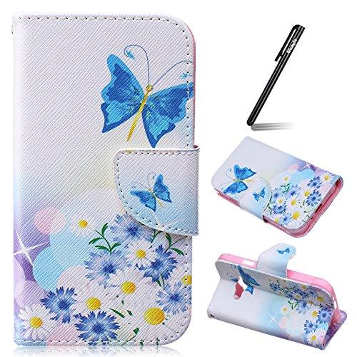 Ukayfe Custodia portafoglio / wallet / libro in pelle per Samsung Galaxy J1 Ace - Cover elegante e di alta qualità con porta carte di credito e banconote Stampa creativa e cinghia portatile Con Stilo Penna - Daisy e farfalla blu