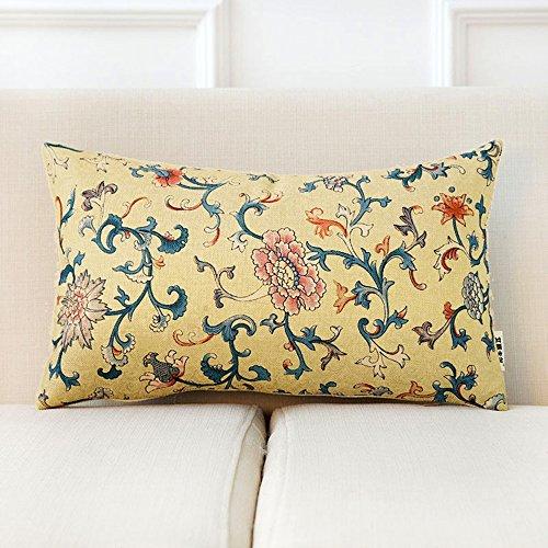 GJM Shop U Coussin en coton multifonctionnel --- Tissu rétro Canapé d'oreiller Linge de lit Coussin de chevet bureau Entraxe arrière Coussin de taille --- Protection - couverture de coussin pliable de ( taille : 30*50cm-2 )