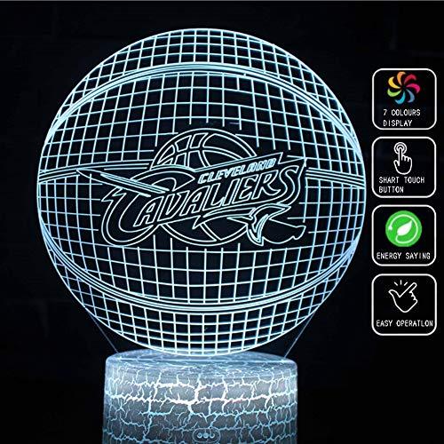 XLBAXLJ Cleveland Cavaliers 3D Acryl-Nachtlicht, 7 Farben-LED Noten-Schalter Ferntischlampe Raumdekoration Schlaf Licht für Basketball-Team-Fan -