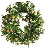 Heitmann Brauns 65267 Deko-Kranz mit Blumen/ca. 30 cm/grün/bunt