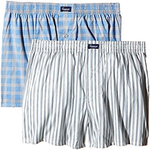 Abanderado Boxer DE Tela de algodón Estampado 100% -Pack x 2 Bóxers, Cuadriculado + Blanco Rayas Azules, 52/L para Hombre