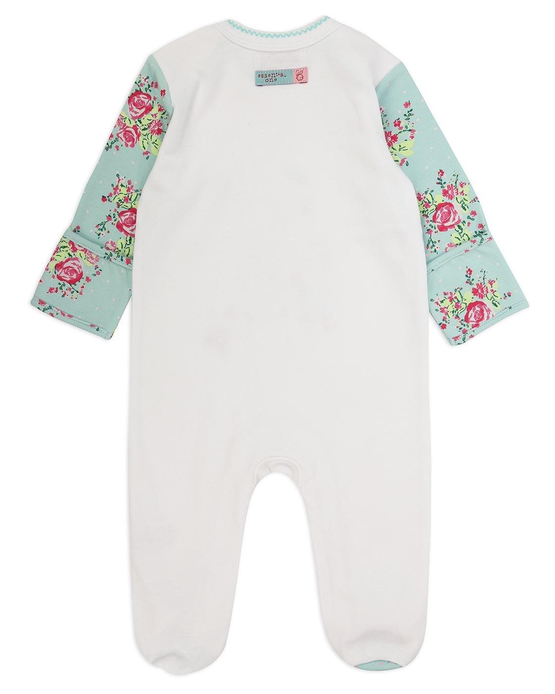 The Essential One – Bebé Niñas Floral Pijamas Tipo Pelele – Blanco/Turquesa – TESS20