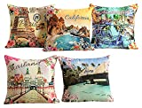 5 x Yuga Printed Sofa-Kissen Bezug Dekorative 100% Baumwolle Kissen Bezug - 16 x 16 Zoll