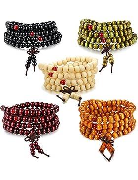 BESTEEL Schmuck 3-5Pcs 108 Holz Perlen Armbänder für Herren und Damen Buddhist Halskette Armband Gebet Perlen...