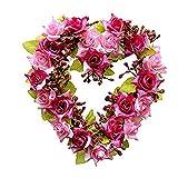 Leoie Heart-Shape Garland Artificial Flower Wreath for Car Home Room Garden Decoration
