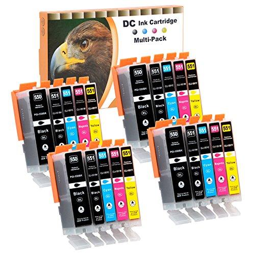 D&C 20x Druckerpatronen Kompatibel für Canon PGI-550 XL CLI-551 XL für Canon Pixma MG7100 MG7150 MG7550 MX925 iP7200 iP7250 MG5400 Series MG5450 MG5550 MG5650 MG5655 MX725 MX920 iP8750 iX6850 MG6350