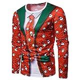 Frashing Herren Langarm Sweater 3D Druck Weihnachten Sweatshirt Pullover Lässiger Langärmliger Tops Jumper Sweatshirt Ugly Christmas Weihnachts Kostüm