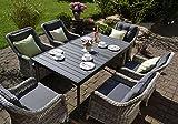 bomey Rattan Lounge Set I Gartenmöbel Set Como 7-Teilig I Essgarnitur mit Polstern I Sitzgruppe Grau + Tisch Ausziehbar + Polster Grau I Dining Lounge für Terrasse + Wintergarten