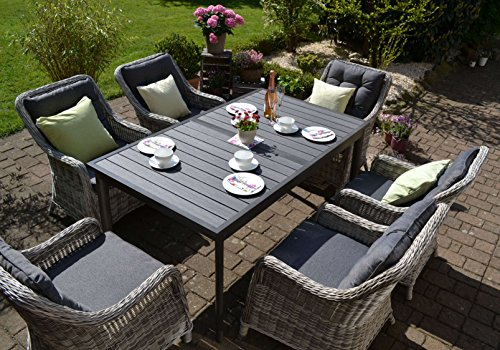 bomey Rattan Lounge Set I Gartenmöbel Set Como 7-Teilig I Essgarnitur mit Polstern I Sitzgruppe...