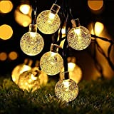 Solar Lichterkette, OxyLED 30LED Solar Garten Lichterkette Außen sbeleuchtung Kristall Kugel Beleuchtung Beleuchtung Deko für Fest, Halloween, Hochzeiten, Feiern, Weihnachten -Warmweiß [Energy Class A ++]