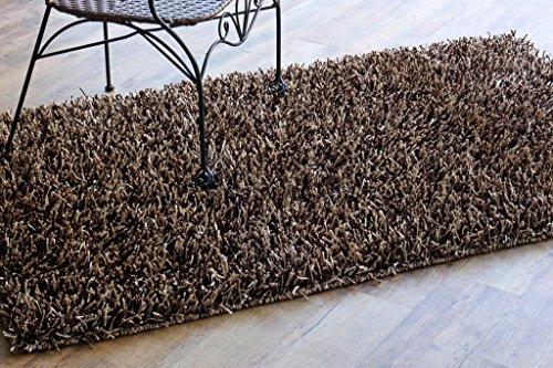 Paja hecha a mano y hecho a mano 3'x 5' color beige/marrón Sparkle Shaggy área alfombra, estilo: mantequilla Chocolate
