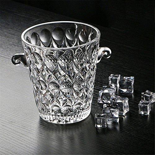 FTC Ice Bucket Kristallglaschampagnereimerbar KTV mit Eiswürfeln mit Griff und Eisclip, Wassertröpfchen