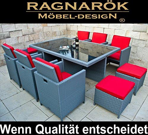 Ragnarök-Möbeldesign marchio tedesco, produzione eignene--8anni garanzia-Tavolo + 6stühl & 4-mobili da giardino incl. Sgabello Vetro e cuscini per seduta mobili Design Platinum-grigio mobili da giardino tavolo da giardino alluminio Rattan