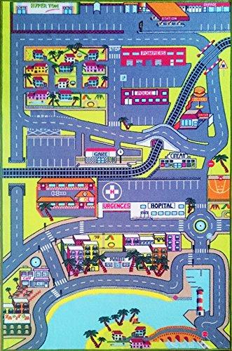 TAPITOM Tapis de jeu pour enfant – route circuit de voiture dans la ville - 130 x 200 cm