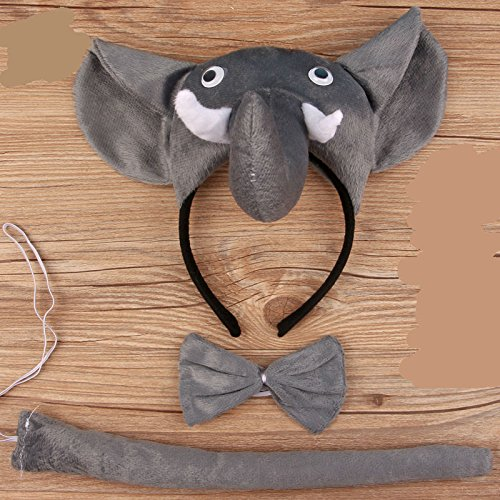 es Set Cartoon Tier Dreidimensional Stirnband für Halloween Weihnachten Party Dekoration, Elefant, 15 * 10 * 1cm ()