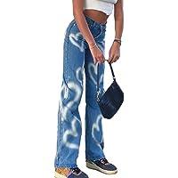 Frecoccialo Pantaloni in Denim da Donna a Vita Alta con Gamba Larga a Farfalla Moda Donna Jeans con Pannello Strappato…