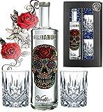 100% Vodka Geschenkset Flower Skull inkl. 2 Gläsern Luxus-Wodka Iordanov im Geschenk Chrome