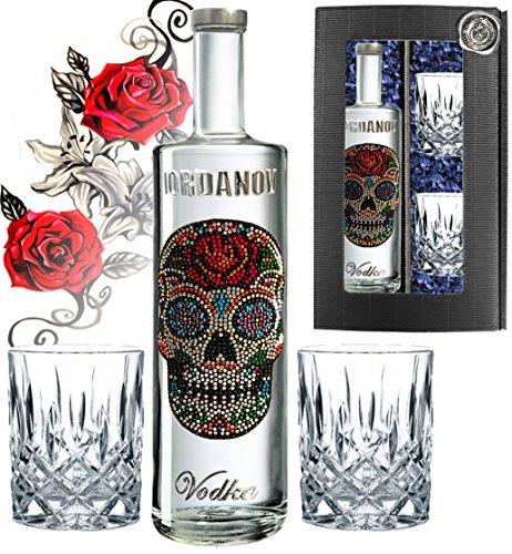100% Vodka-Set Luxus Geschenkset Flower Skull Wodka inkl. zwei geschliffenen Gläsern, Grusskarte und Geschenk-Verpackung| für den Mann Geburtstag